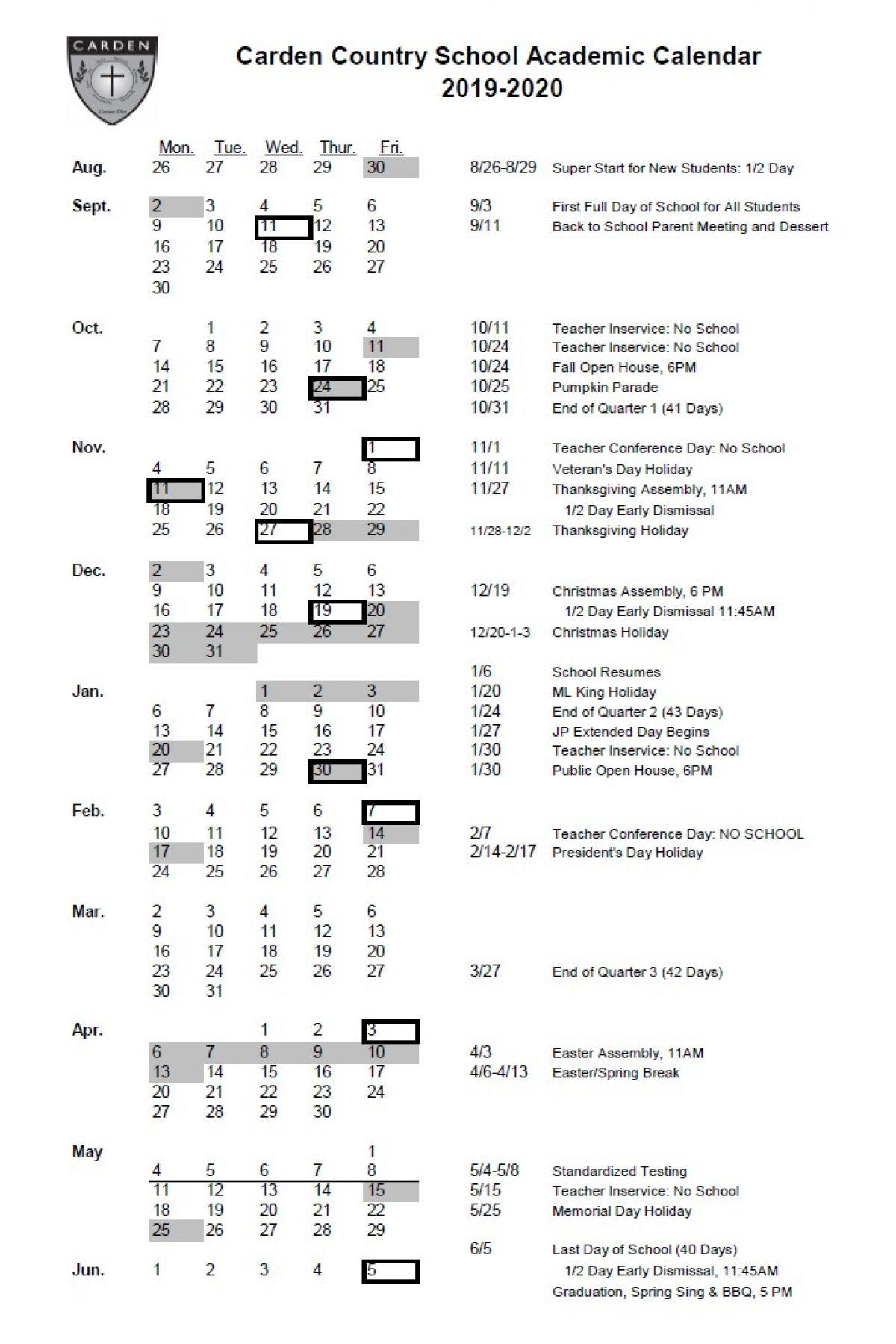 Carden 2019 2020 Academic Calendar