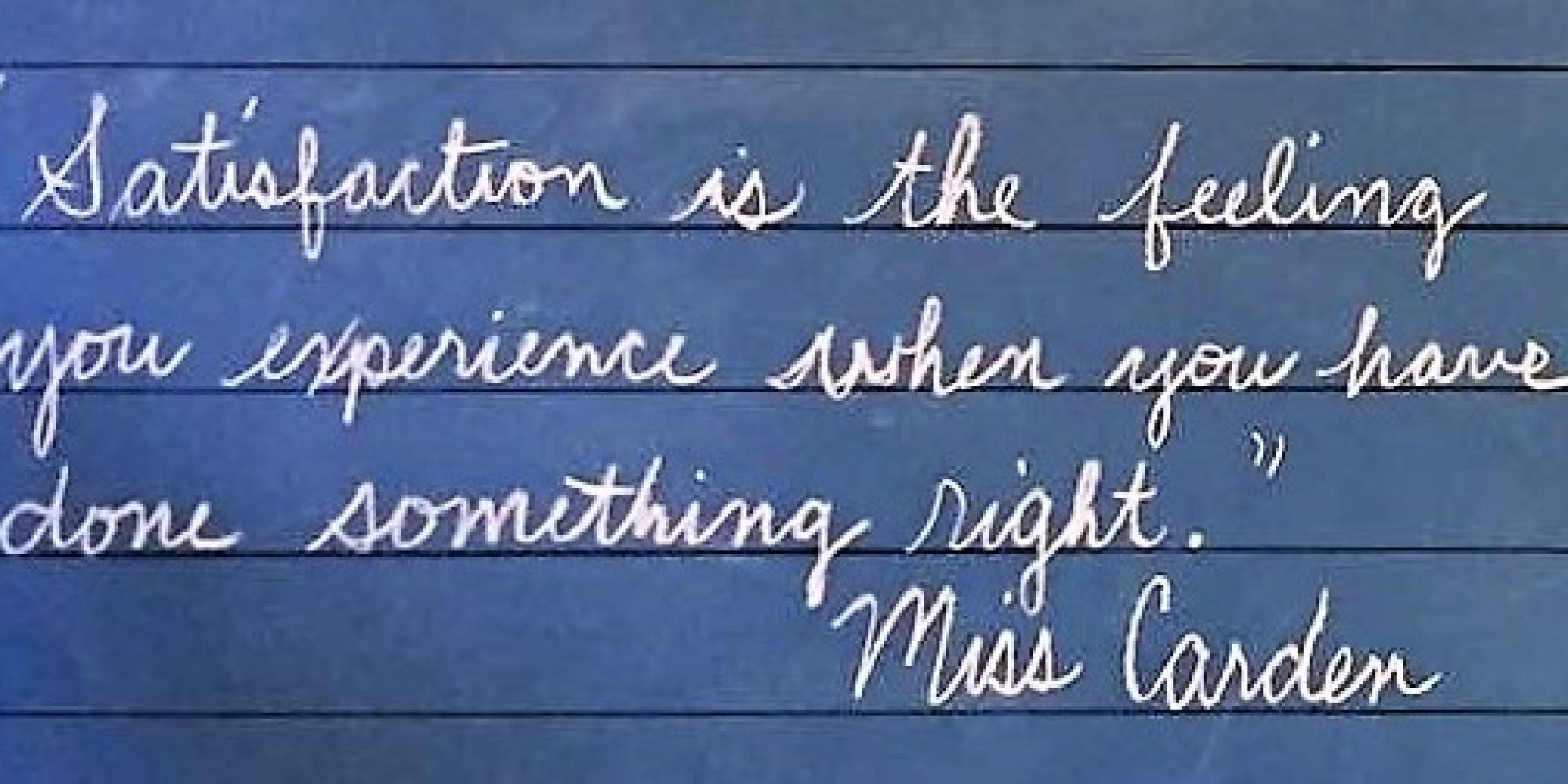 Mrs Raben Cursive Satisfaction Is The Feeling