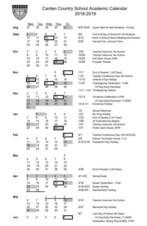 2018 2019 Carden Calendar